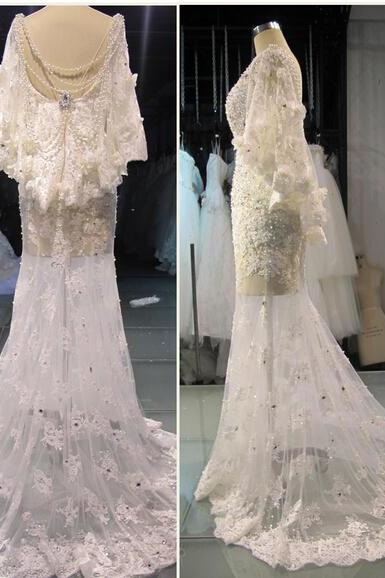 2017 Real Image Wedding Dresses Vestidos de Novia Luxury Sparkle Bling White Mermaid Scoop Beads Pearls Backless Lace Wedding Dress Bridal Gowns