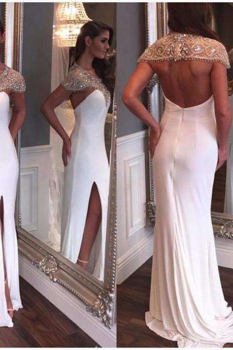 2017 Prom Dresses Sexy White Mermaid Cap Sleeve Sheer Rhinestones Crystal Backless Formal Evening Party Gowns robes de bal