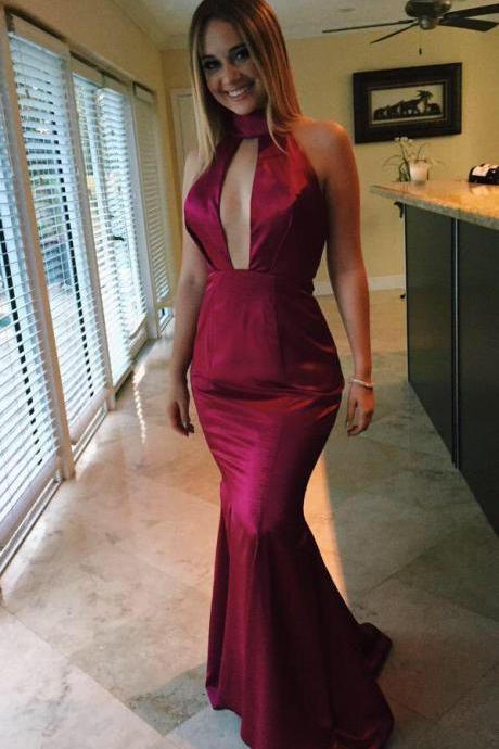 2017 Evening Dress Sexy Cheap New Arrival Burgundy/Red Wine Mermaid Cutout Backless Satin Long Formal Prom Party Gowns Vestidos