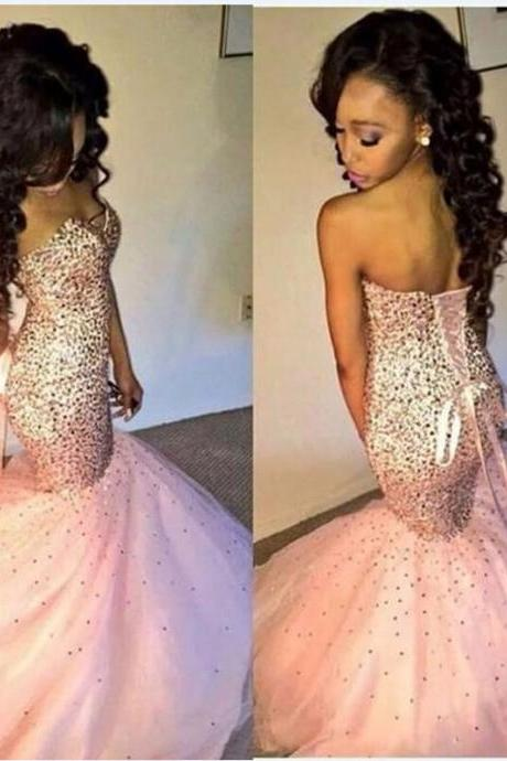 Luxury Crsytal Mermaid Prom Dresses Custom Made Sweetheart Back Corset Sexy Pink Party Dress Fashion Formal Evening Gowns