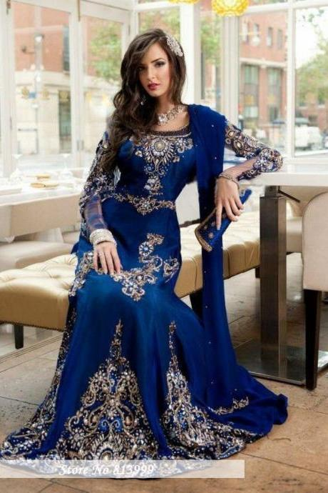 2017 Stunning Royal Blue Beaded Muslim Evening Dress Long Sleeves Moroccan Kaftan Dress Stretch Satin Chiffon Party Gowns