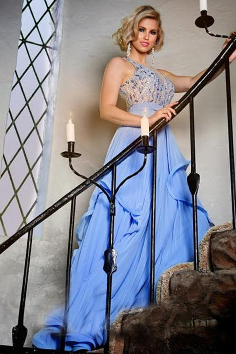 Blue Sexy O Neck Back See Through Beading Crystal Long Women Formal Evning Dress Mother of the Bride Dress