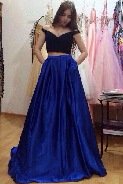 Prom Dresses,2017, Prom Dresses, Sexy ,Two Peiecs ,Simple ,Royal Blue ,Beads ,Rhinestones ,Chiffon, Long Formal Evening Party Gowns