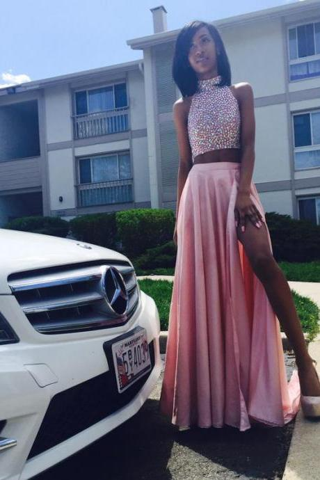 Sexy Prom Dresses Two 2 Pieces Pink Beads Rhinestones Backless Formal Dress Evening Dress Party Dress Evening Gowns
