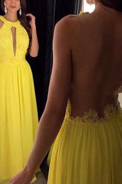 Illusion Prom Dress, Illusion Evening Dresses, Back See Though sexy Party dress , Deep V cut Cocktail Party , Mango Yellow Chiffon Dress
