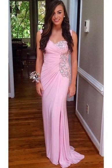 Prom Dresses Sexy Pink Rhinestones Crystals Backless Chiffon Formal Evening Party Gowns robes de bal