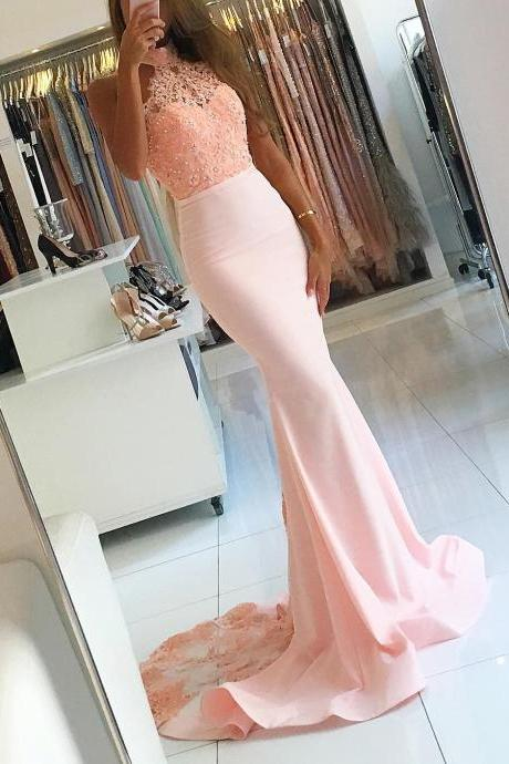 Halter Prom Dresses,Backless Dress,Sexy Mermaid Dress,Mermaid Evening Dress,Elegant Prom Gowns Lace Appliques