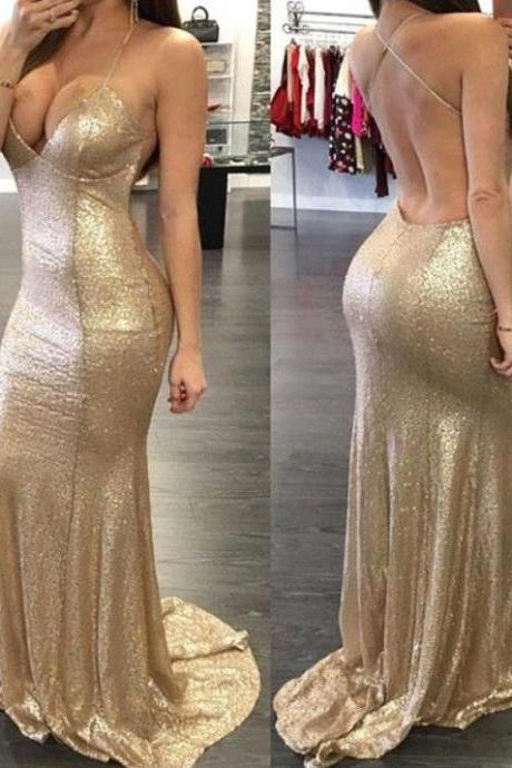 Prom dresses,2017 Sequins Mermaid Prom Dresses Sweetheart Spaghettis Straps Backless Sexy Evening Gowns Gold Sequins Mermaid Party Cocktail Dresses