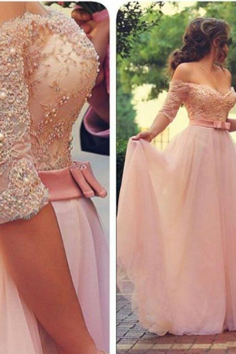 Off Shoulder Half Sleeves Pink Long Party Prom Dresses Sweetheart Sash Bow Beads Pearls Long Evening Dresses