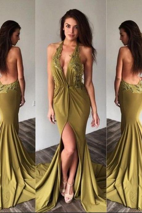 Sexy Backless Prom Dresses Long Mermaid Prom Dresses 2017 New Style Halter Appliques Lace Chiffon Evening Party Dress