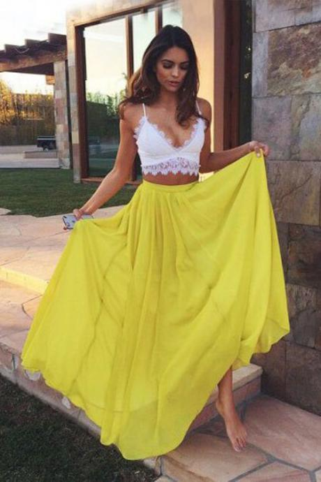 Spaghetti Straps Prom Dress,Yellow Chiffon Prom Dresses,Evening Dress,High Quality Graduation Dresses,Wedding Guest Prom Gowns, Formal Occasion Dresses,Formal Dress