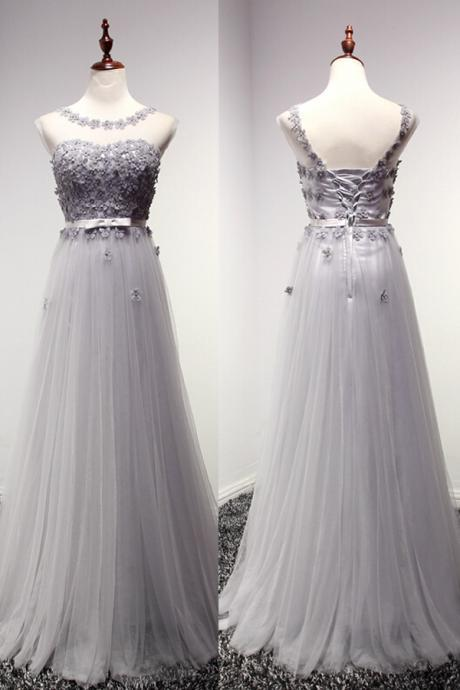 Pd0933 High Quality Prom Dress,A-Line Prom Dress,Tulle Prom Dress,O-Neck Prom Dress, Appliques Prom Dress