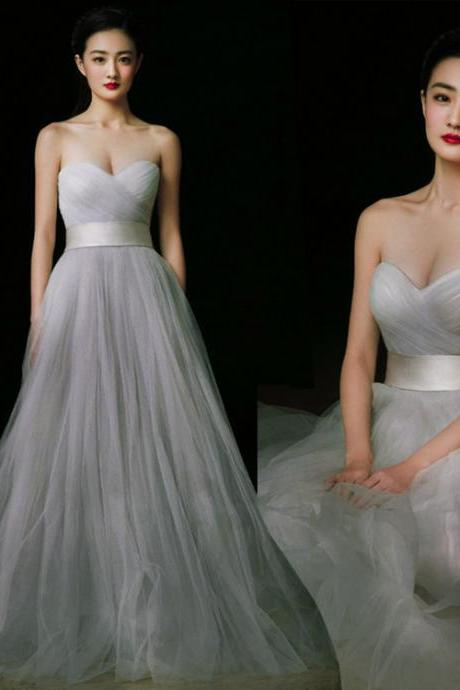 Charming Prom Dress,Grey Prom Dress,Tulle prom dress,Strapless Prom Dress,Sweetheart neck Prom Dress,sexy prom dress,prom dress 2017