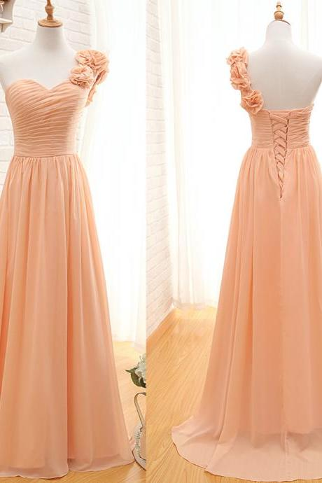 Floor Length Chiffon A-Line Pleated Bridesmaid Dress Featuring Ruched Sweetheart Bodice with Floral Accent One Shoulder Strap and Lace-Up Detailing