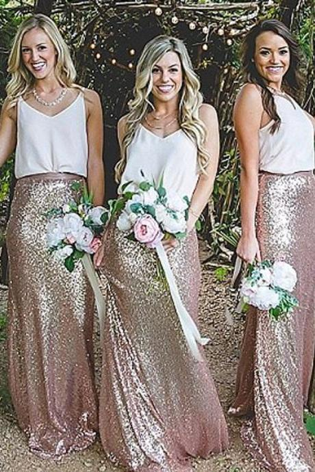 Elegant Blush Sheath Sequined Bridesmaid Dresses ,V-Neck Sleeveless Sweep Train