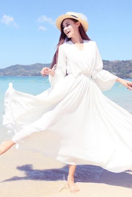 Chiffon Prom Dress,White Prom Dress,Long Sleeve Prom Dress,Fashion Prom Dress,Sexy Party Dress, New Style Evening Dress