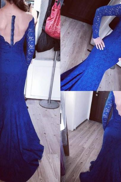 Prom Dresses,Evening Dress,Party Dresses,Prom Dresses,Prom Dresses,Royal Blue Prom Dresses,Lace Evening Dress,Sexy Prom Dress,Backless Prom Dresses With Long Sleeves,Charming Prom Gown,Open Back Prom Dress,Mermaid Fashion Evening Gowns for Teens
