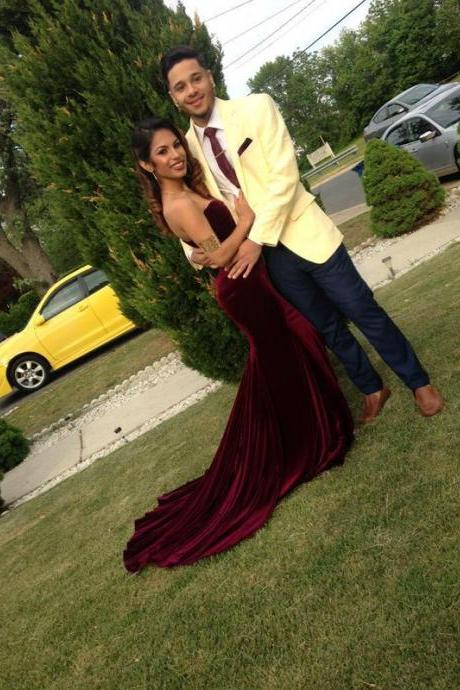 Prom Dresses,Evening Dress,Party Dresses,Burgundy Prom Dresses,Mermaid Prom Dress,Sexy Prom Dress,Strapless Prom Dresses,2017 Formal Gown,Modest Evening Gowns,Wine Red Party Dress,Mermaid Prom Gown For Teens