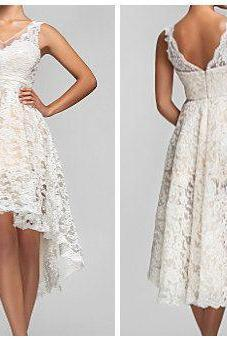 Custom Made Lace High Low Short Wedding Dress,Lace High Low Short Bridal Dress,Lace High Low Short Prom Dresss,