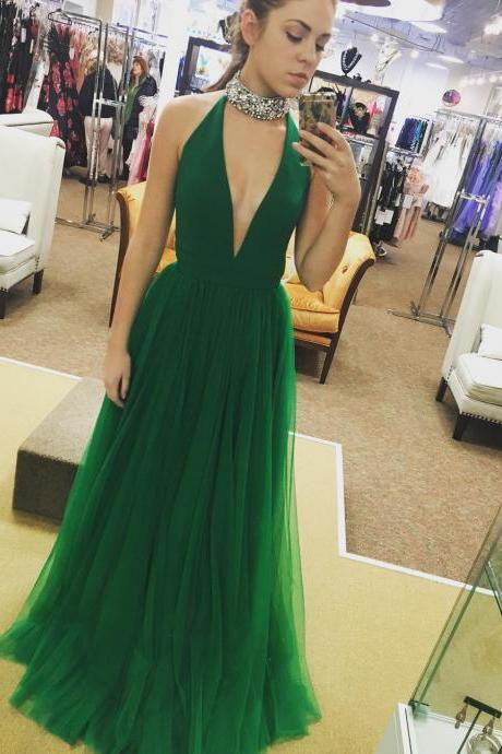 halter prom dress,green prom dress,long prom dress,sexy prom gowns,prom dresses 2017