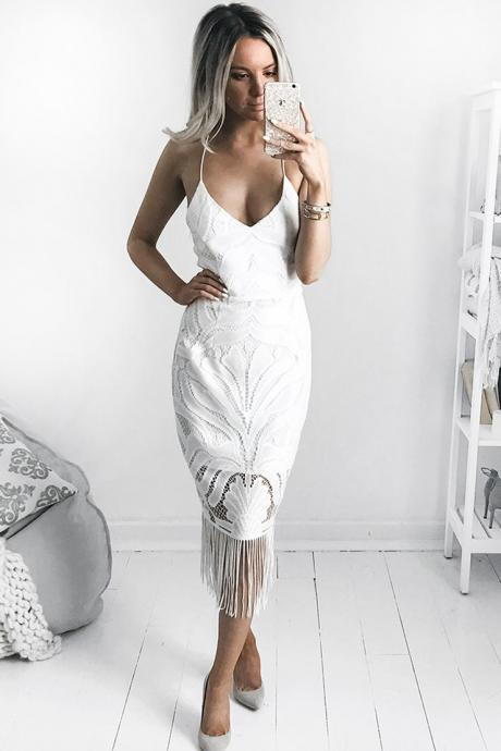 High Fashion Sexy Spaghetti Straps Sheath White Lace Long Prom Dress
