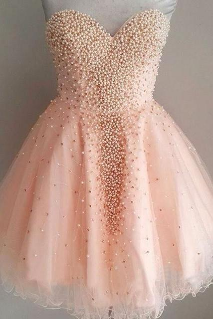 Short Graduation Dress Homecoming Dress with Pearls