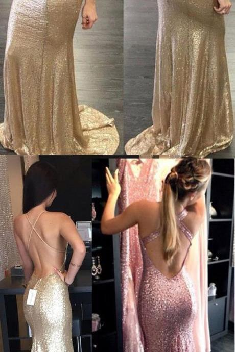 Prom Dresses,Evening Dress,Gold Prom Dress,Floor Length Prom Dress,Prom Dress with Train,Long Homecoming Dress,Mermaid Style Evening Dress,Backless Evening Dress,Halter Prom Dress,Prom Dress for Woman