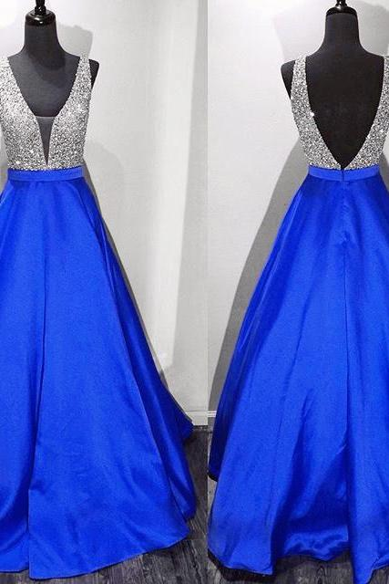 Prom Dresses,Evening Dress,New Arrival Prom Dress,Modest Prom Dress,long satin v neck royal blue prom dresses ball gowns 2017
