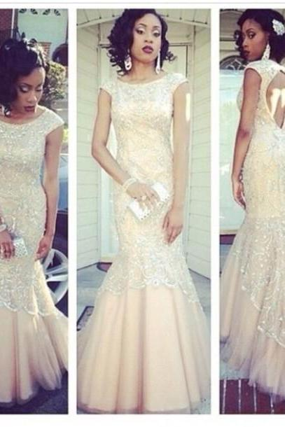 Vintage Cap Sleeves Mermaid Lace Prom Dress,Key Hole Back Prom Dress,Long Prom Dress