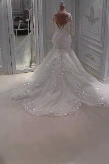 Wedding Dresses, Wedding Gown,Princess Wedding Dresses see through back long sleeves lace mermaid wedding dresses with crystal beaded 2017 vintage