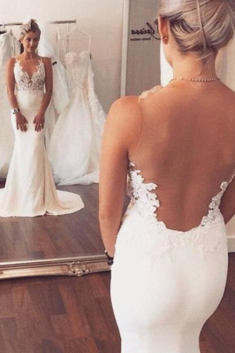 White Lace Wedding Dress, Round Neck Sheath Long Mermaid Bridal Dress, Evening Dresses,Simple Wedding Dresses