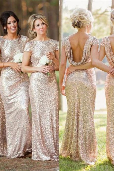Low Back Sequined Bridesmaid Dress, Sparkling Short Sleeve Bridesmaid Dress, Sexy Sheath Bridesmaid Dresses,