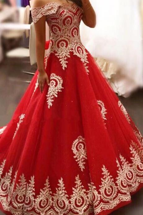 Prom Dresses,Evening Dress,New Arrival Prom Dress,Modest Prom Dress,gold lace appliques prom dress,red evening gowns,elegant bride dress,prom dress 2017,wedding dress 2017
