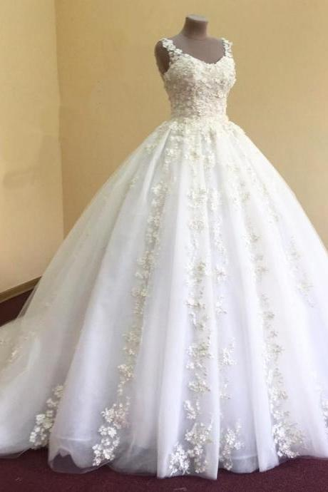 Wedding Dresses, Wedding Gown,elegant lace appliques v neck white organza ball gowns wedding dress 2017