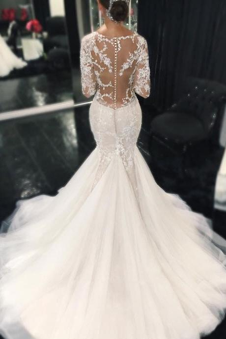 Wedding Dresses, Wedding Gown Sexy Illusion Back Long Sleeves Lace Mermaid Wedding Dresses