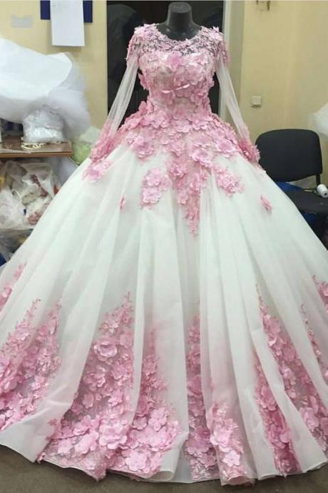 Prom Dresses,Evening Dress,New Arrival Prom Dress,Modest Prom Dress,Flower wedding dress,pink wedding dress,ball gown wedding dress,wedding dresses