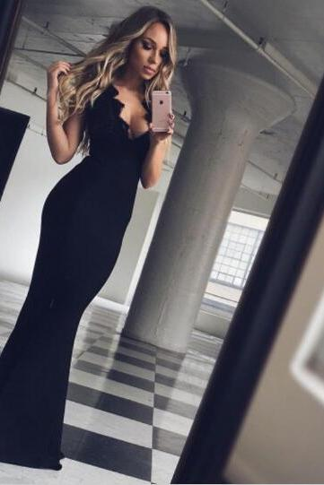 Prom Dresses,Evening Dress,Prom Dress,Long Prom Dress,Black Backless Prom Dresses, Sexy Mermaid Prom Dresses, Simple Prom Dresses, Prom Dresses 2017,Custom Prom Dresses
