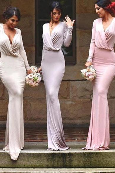 long sleeves sexy bridesmaid dress,simple unique style bridesmaid dress,formal evening wedding party prom dresses,long bridesmaid dress,bridesmaid dresses