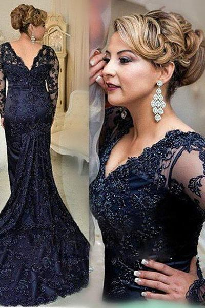 Fashionable Long Sleeve Sparkly Black Beading Formal Mother Dress for Wedding
