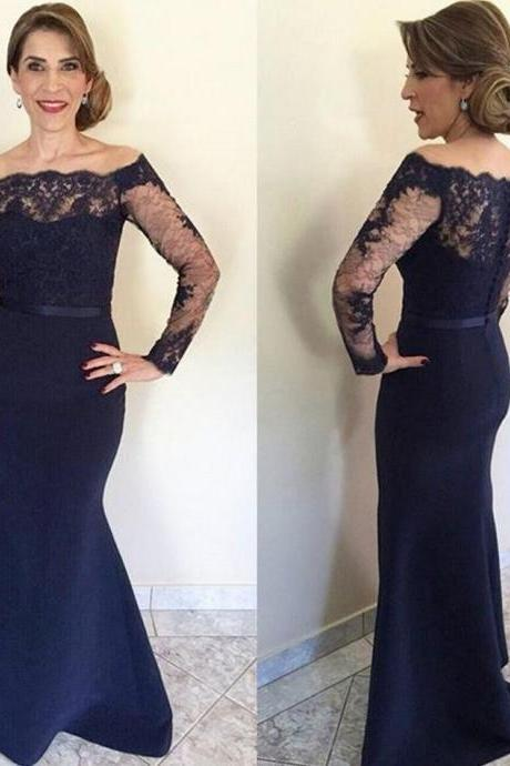Sexy Prom Dress,Navy Blue Lace Long Mother Of The Bride Dresses , Long Sleeve Formal Mother Of The Groom Dresses,Long Mermaid Formal Gowns,Sexy Evening Dresses for Women,Long Prom Dresses