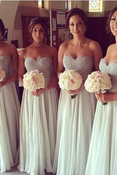 Silver Lace Bridesmaid Dress,Long Bridesmaid Gown,Ivory Chiffon Bridesmaid Gowns,A Line Bridesmaid Dresses,Chic Bridesmaid Gowns,2017 Bridesmaid Dress,Vintage Bridesmaid Gowns