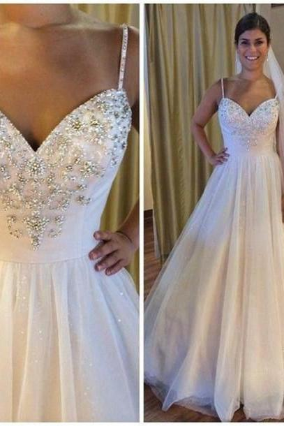 2017 Sweetheart Beaded Wedding Dresess A Line Tulle Wedding Gowns