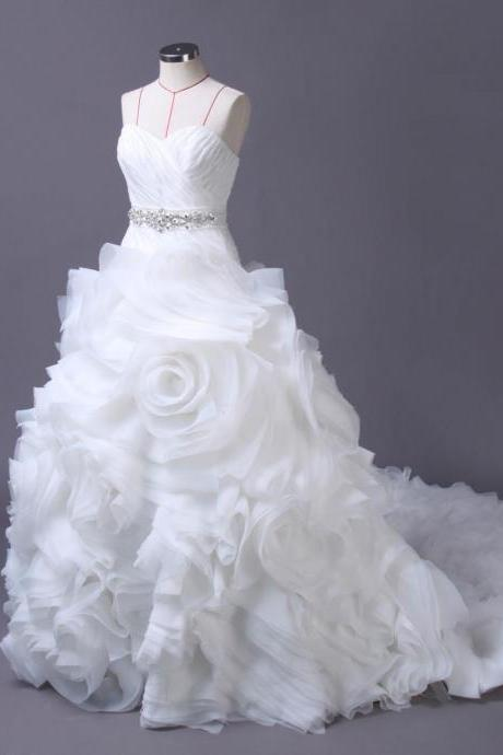 Ruched Sweetheart Floor Length Tulle Ruffled Wedding Gown Featuring Train and Beaded Embellished Belt