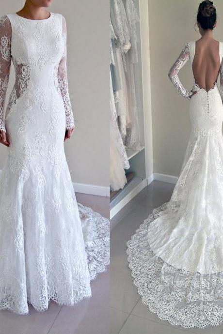 Gorgeous Round Neck Long Sleeve Sexy Mermaid Backless Lace Wedding Party Dresses
