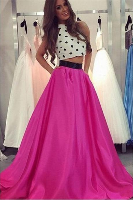 White Prom Dresses, 2 Piece Prom Gowns,2 piece Prom Dresses,Prom Dresses,Prom Gown,2017 Prom Dress For Teens