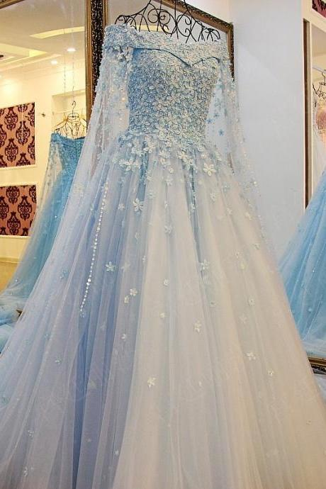 Luxury Beaded Portrait Long Sleeves Wedding Dresses Catherdral Train Color Wedding Dresses Blue Vesti do novias