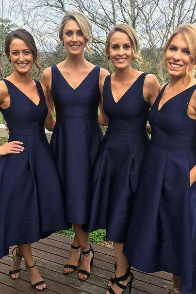 Navy Satin High Low Bridesmaid Dress