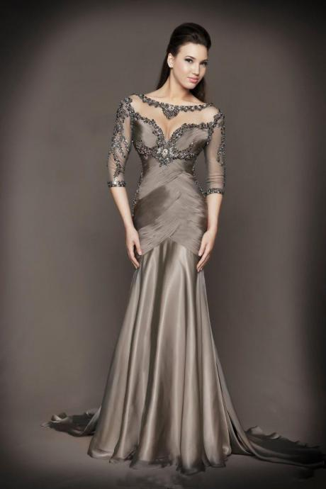 2017 New Mother of the Bride Dresses Formal Gown Evening Dresses With Beading Half Sleeve See Through Grey Chiffon Women Dress