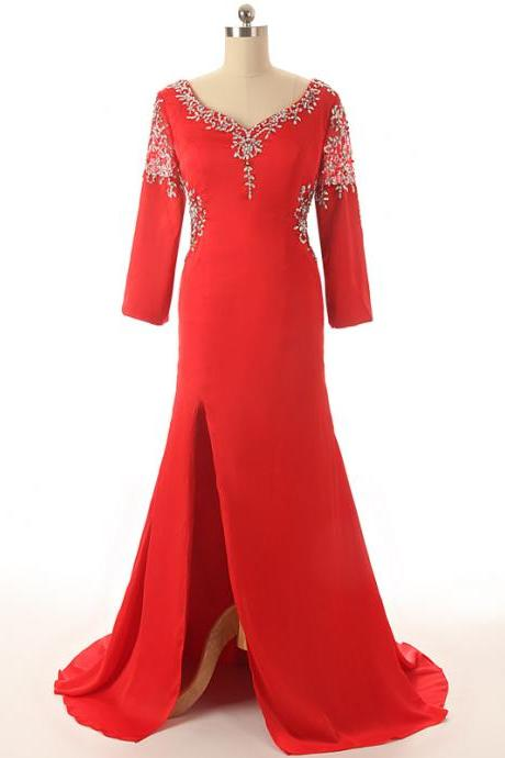 V Neck with Rhinestone Beading Sexy Back Long Sleeves Red Mother of the Bride Dresses