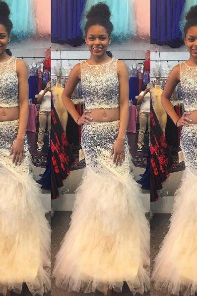 2 Piece Prom Dresses, Champagne Prom Dress, Mermaid Prom Dress, Tiered Prom Dress, Rhinestones Prom Dress,